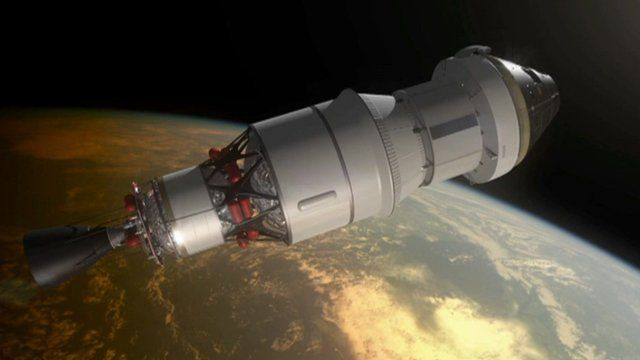Animated image of the Orion capsule