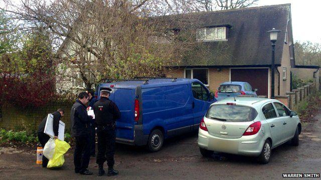 Police investigators in Freckleton, Lancashire