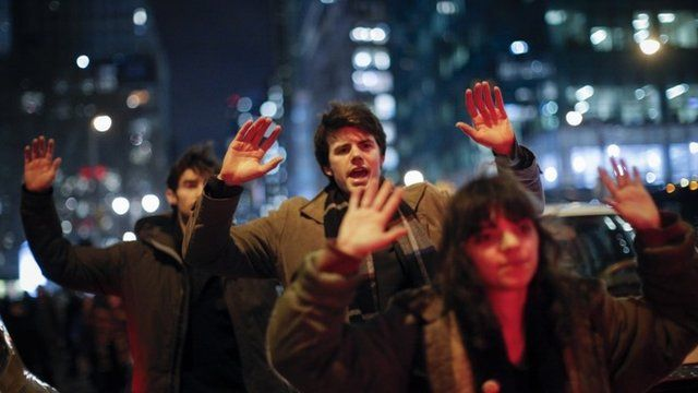 People take part during a protest in support of Eric Garner at the 6th Avenue on December 3, 2014 in New York City.