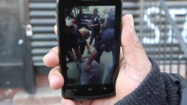Phone with the video of Mr Garner being held by police