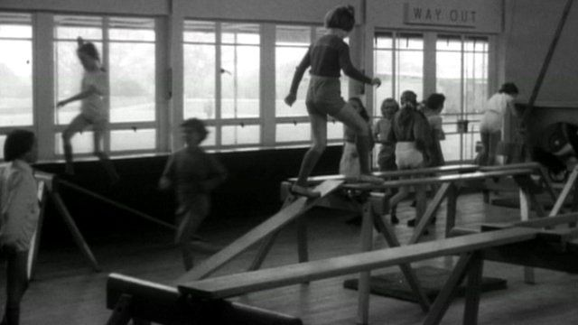 An old-fashioned PE lesson taking place