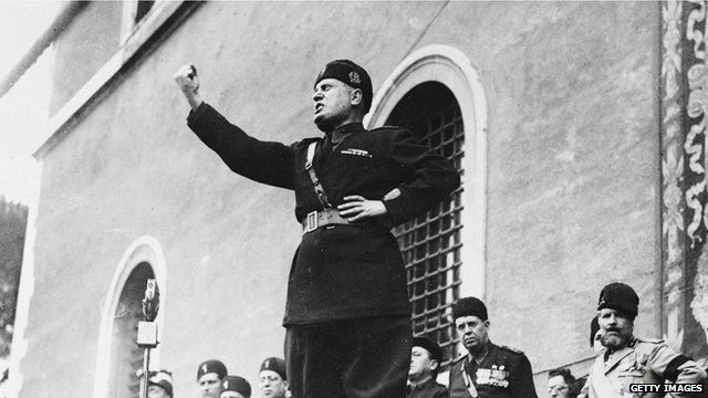 Benito Mussolini making a speech
