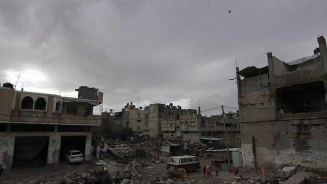 Gaza skyline of half-destroyed buildings