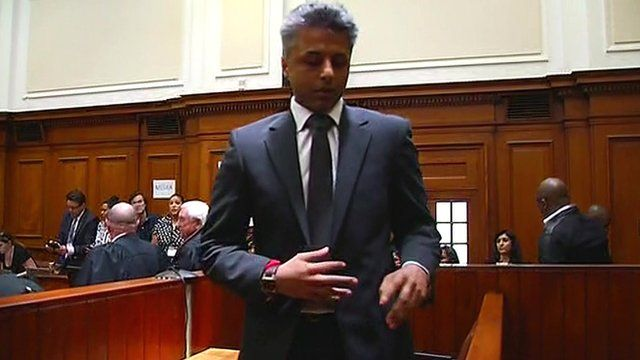 Shrien Dewani is pictured leaving court after the case against him is dismissed