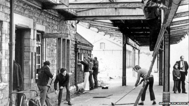 Volunteers access Swanage Station in February 1976