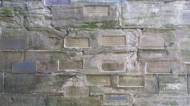 Flood markers at the water gate at Worcester Cathedral