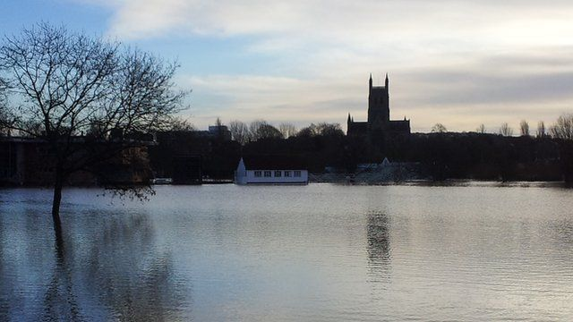 Worcester Cathedral during the February 2014 floods