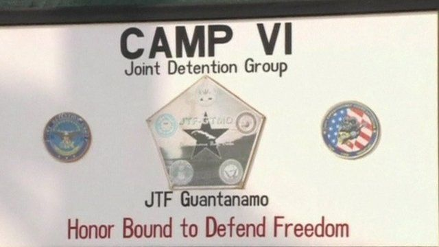 The sign outside one of the Guantanamo Bay detention centres