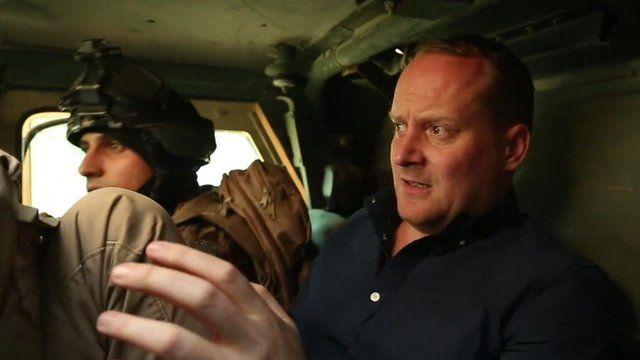 Quentin Sommerville inside a tank
