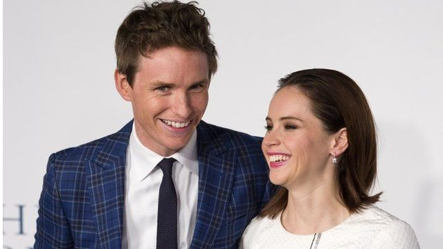 Eddie Redmayne (L) and Felicity Jones (R)