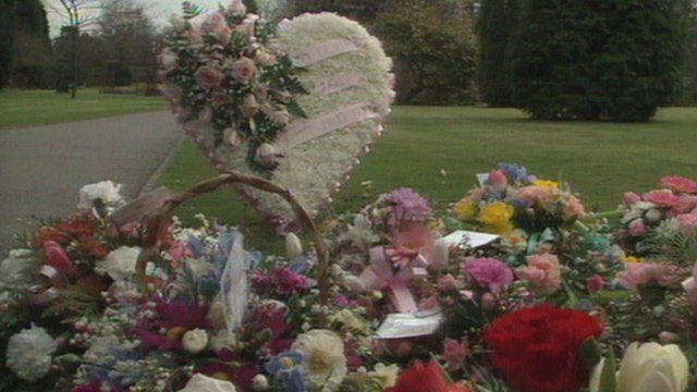 Flowers at Claire Tiltman's funeral in 1993