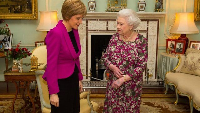 The Queen meets the First Minister of Scotland Nicola Sturgeon at Buckingham Palace, London