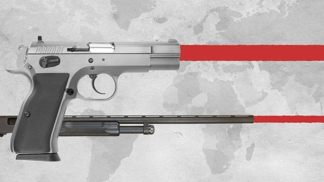 Firearms firing over world graphic