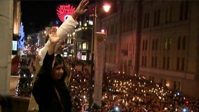 Malala Yousafzai and Kailash Satyarthi in Oslo