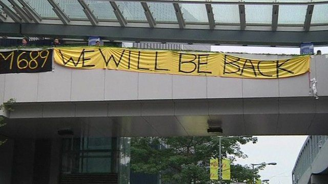 A sign in the Hong Kong protest camp