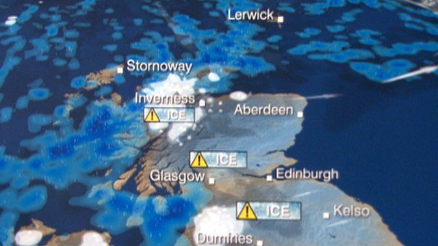 Scotland Weather Map.Ice And Snow Warning For Scotland S Commuters Bbc News