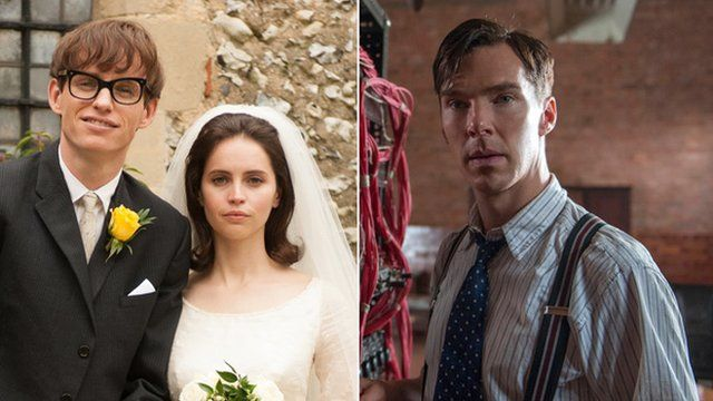 Eddie Redmayne and Felicity Jones in The Theory of Everything and Benedict Cumberbatch in The Imitation Game