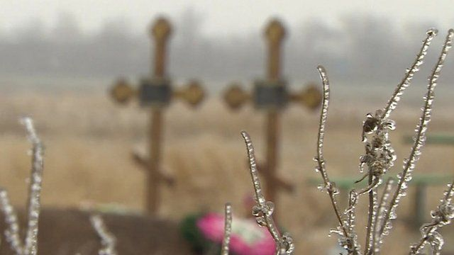 Blurred image of two children's graves in Mariupol with ice-covered plants in foreground