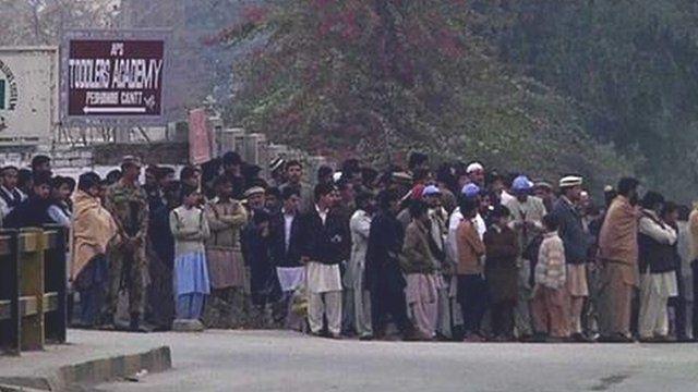 Crowd outside school