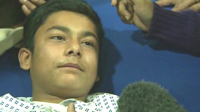 Patient, 13, being treated in a hospital in Peshawar