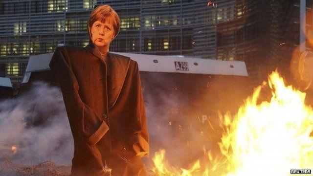 Angela Merkel effigy set alight