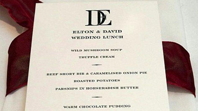 The wedding menu of Sir Elton John and his partner David Furnish