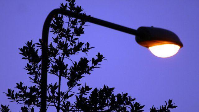 Close up of street light at dusk