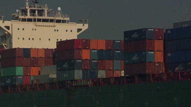 Cargo ship in Los Angeles port