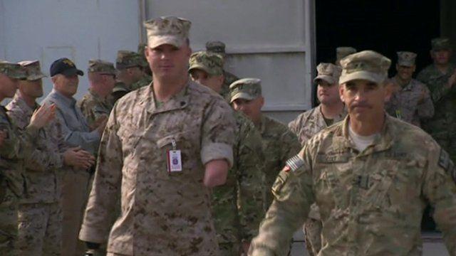 Injured US veterans arriving in Afghanistan