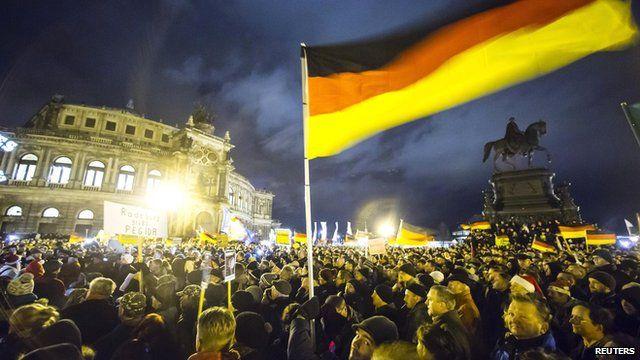 Pegida rally outside the Semperoper opera house in Dresden on 22 December 2014