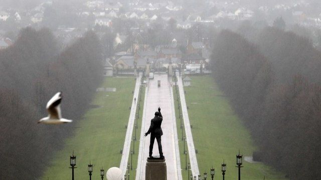 "A statue of 1920""s Ulster Unionist politician Edward Carson overlooks the grounds of Stormont estate, near Belfast Tuesday, Dec. 23, 2014"