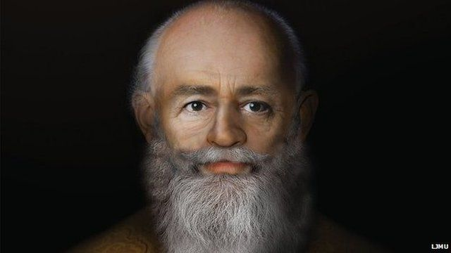 Portrait of Nicholas, the Bishop of Myra, created by Liverpool's John Moores University Face Lab in December 2014