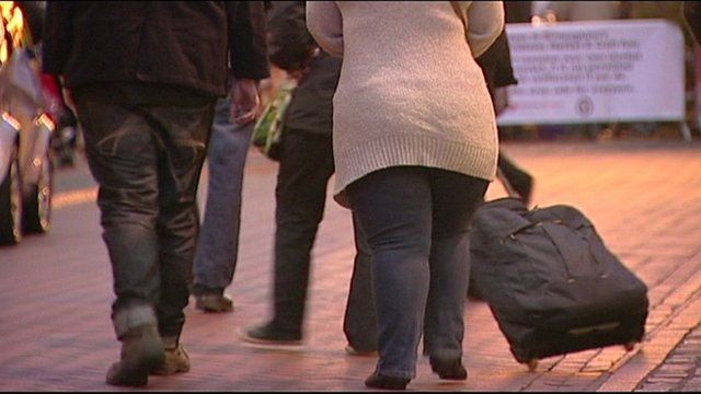 overweight people walking