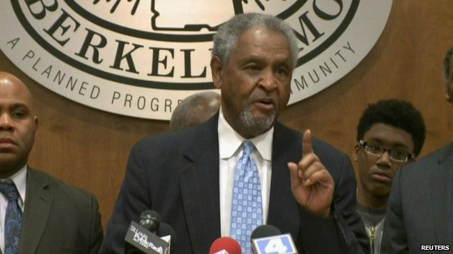 Mayor of Berkeley, Theodore Hoskins, at a news conference on shooting of Antonio Martin in St Louis Missouri