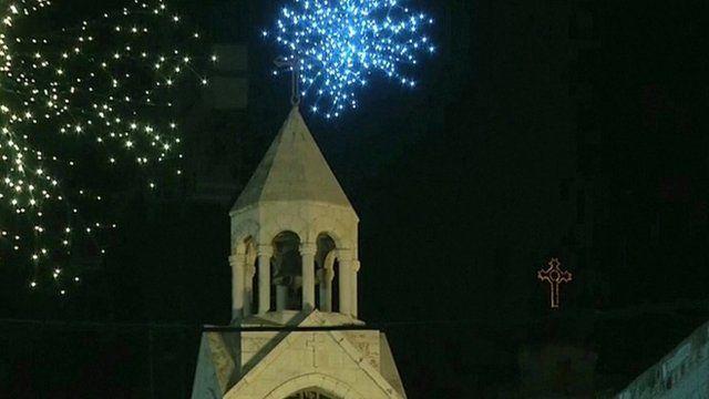 Fireworks above Church of the Nativity in Bethlehem