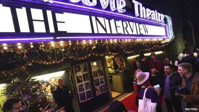 """Fans line up at the Silent Movie Theatre for a midnight screening of """"The Interview"""" in Los Angeles"""