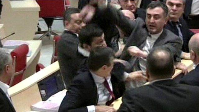 Brawl in parliament in Georgia