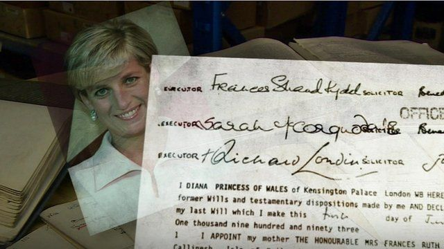 Close up Princess Diana's will superimposed on small image of Diana