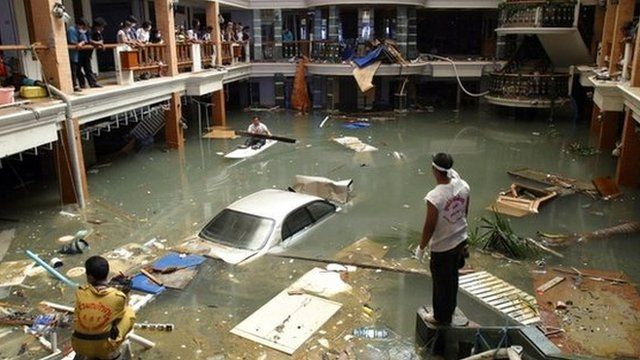 Flooded hotel in Phuket, Thailand, after the tsunami