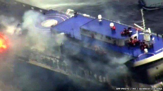"The burning ferry ""Norman Atlantic"" adrift off Albania"