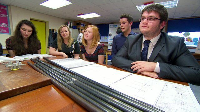 Pupils at St Benedict's school in Cumbria, with Andrew Ballantyne (2nd from the right) of the National Nuclear Laboratory