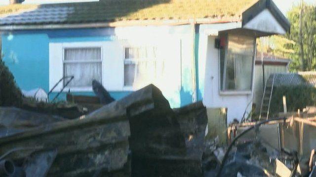 caravan fire at Grangewood, Magor