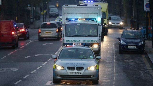 Ambulance carrying Ebola patient