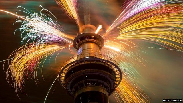 Firework display from the top of the Sky Tower in Auckland, New Zealand