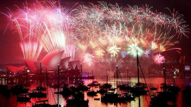 """View of the """"Midnight Fireworks"""" above the Sydney Opera House"""