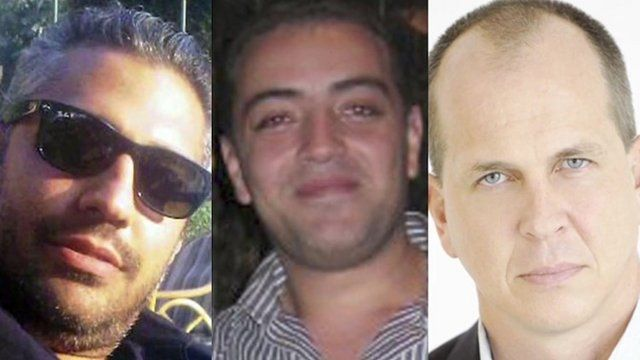(Left to right) Image shows Al Jazeera journalists Mohamed Fahmy, Baher Mohamed and Peter Greste
