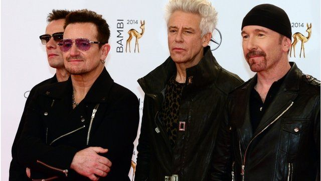 Irish singer-songwriter Bono and his band U2 pictured in Berlin late last year