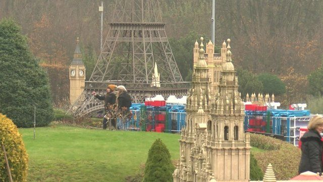 Park with model buildings of Big Ben, Eiffel Tower