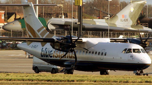 Blue Islands plane at London Southend Airport after emergency landing