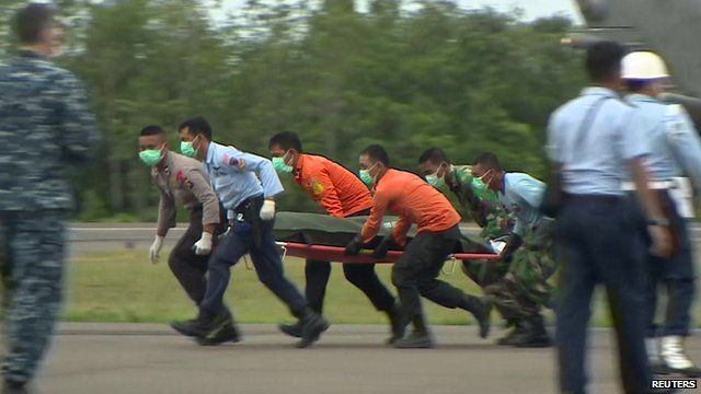 Stretcher team carrying body in body bag recovered from crash site of AirAsia flight QZ8501